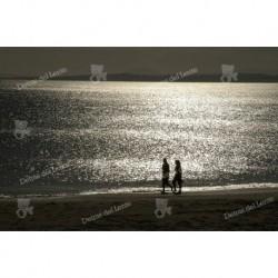 Personas, paisajes y puesta de sol